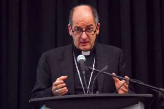 Archbishop Giampietro Dal Toso, president of the Pontifical Mission Societies, speaks to Canada's bishops at their annual conference.