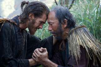 Andrew Garfield plays Father Rodrigues and Shinya Tsukamoto plays Mokichi in the film 'Silence' by Paramount Pictures, SharpSword Films, and AI Films