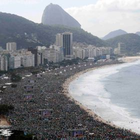 Pilgrims pack Copacabana beach for the World Youth Day closing Mass in Rio de Janeiro July 28. In attendance was an estimated 3 million people -- one of the largest crowds in the history of World Youth Day.