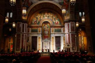 Pope Francis meets with U.S. bishops in the Cathedral of St. Matthew the Apostle in Washington Sept. 23.