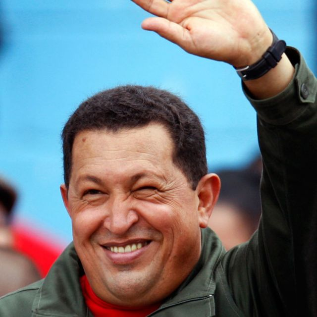 President Hugo Chavez waves to supporters after casting his vote in Venezuela's 2008 election. Chavez, the socialist president who transformed Venezuela while acting as chief protagonist in what was one of the worst Catholic Church-government relationships in Latin America, died March 5. He was 58.
