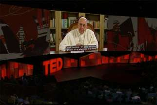 Pope Francis addresses the 2017 TED Conference in Vancouver via video April 25.