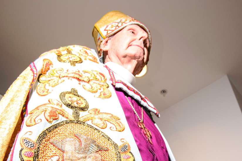 Retired Anglican Archbishop of Toronto Terrence Finlay models Bishop Charles Henry Brent's Cope, given to him in 1920 by the people of France for his service with the American Expeditionary Forces during the last year of the First World War. The elaborate liturgical garment has been restored by the Needleworkers Guild of Toronto.