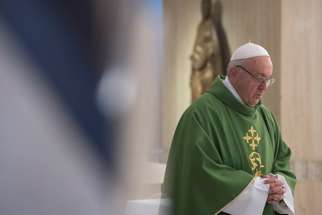 Pope Francis celebrates Mass at Casa Santa Marta.