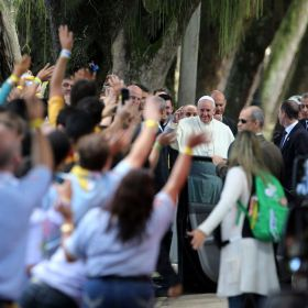 Pope Francis arrives at Quinta da Boa Vista park, where he heard the confessions of five young people attending World Youth Day, July 26 in Rio de Janeiro.
