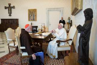 Pope Francis meets with Cardinal Sean P. O'Malley of Boston, president of the Pontifical Commission for the Protection of Minors, during a private audience at the Vatican April 4, 2019. Cardinal O'Malley was at the Vatican for meetings of the commission and also the Council of Cardinals, a group that advises Pope Francis.