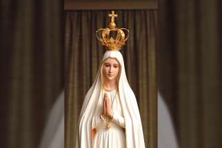 One of the 13 replica statues of the International Pilgrim of Fatima that will be coming to Toronto in October.
