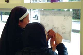 Sisters trace an image during a Catechesis of the Good Shepherd training program.