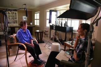 Cheridan Sanders, right, interviews Sr. Helen Prejean of the Sisters of St. Joseph for a Salt + Light docuseries about women religious