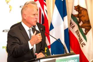 California governor Jerry Brown said there is a responsibility to keep the environment safe for future generations. Brown warned that if humans were to continue damaging the environment, millions will suffer and die. He is pictured in Toronto speaking at the Climate Summit of the Americas July 8.