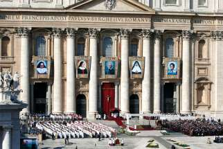 Pope Francis celebrates the canonization Mass for five new saints in St. Peter's Square at the Vatican Oct. 13.