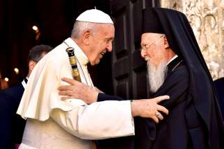 Pope Francis greets Ecumenical Patriarch Bartholomew of Constantinople outside the Basilica of St. Nicholas in Bari, Italy, on July 7, 2018. The Pope met leaders of Christian churches in the Middle East for an ecumenical day of prayer for peace in the region.