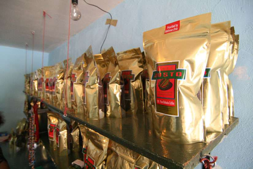Cafe Justo, a Mexican coffee grower cooperative, roasts its beans in the border town of Agua Prieta, Mexico, to ensure the coffee is fresh when it arrives to U.S. customers. Each bag is labeled with the name of the person responsible for the selected beans. The cooperative works to stem the flow of migration to the U.S. by offering workers just wages.
