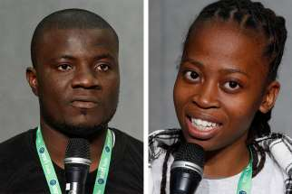 Vincent Paul Nneji of Nigeria and Tinyiko Joan Ndaba from South Africa were among the 305 young adults participating in a weeklong pre-synod meeting with Pope Francis and bishops.