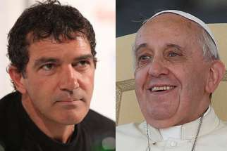 Antonio Banderas, left, may be cast in the role of Pope Francis in the first feature film to be made on the life of the Argentine pontiff.