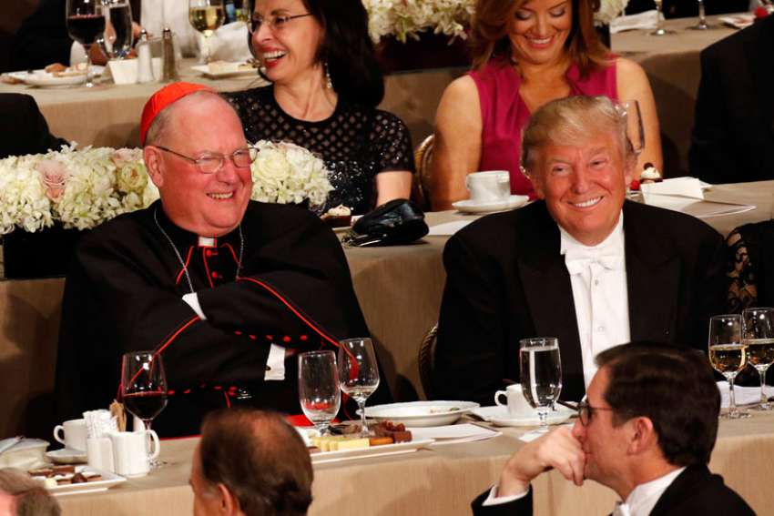 New York Cardinal Timothy M. Dolan and Donald Trump at the 71st annual Alfred E. Smith Memorial Foundation Dinner Oct. 20. Cardinal Dolan says he hopes promises made by Trump, now president-elect, on life issues will become his administration's policies and that the pro-life community will hold him accountable to those promises.