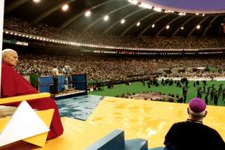 Pope John Paul II at Montreal's Olympic Stadium during his 1984 visit to Canada. He is the only pope to visit Canada, which he did three times, the last in 2002.