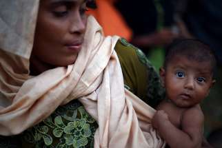 A mother and daughter are seen at a refugee camp near Cox's Bazar, Bangladesh Oct. 22.