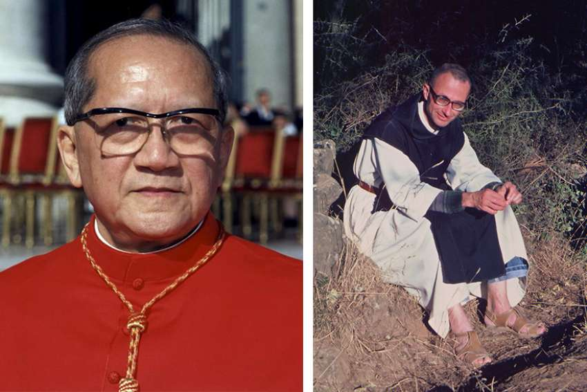 Vietnamese Cardinal Francois Nguyen Van Thuan (left) is pictured at the Vatican in this 2001 file photo. Trappist Father Christian-Marie de Cherge was one of seven monks slain by Islamic terrorists in Algeria in 1996. Pope Francis highlighted the lives of these lesser known Church figures in 'Gaudete et Exsultate'.