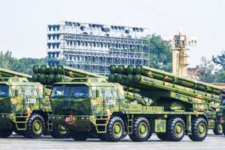 A Dongfeng-41 intercontinental strategic nuclear missiles group formation is seen Oct. 1, 2019, during the 70th anniversary celebration of the founding of the People's Republic of China in Beijing. Archbishop Bernardito Auza, the Vatican's permanent observer to the United Nations, called on global leaders to work to rid the world of nuclear weapons in a series of addresses in October.