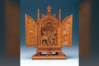 This Netherlandish miniature altarpiece portrays a nativity scene and was made 1500 - 1530. Made from boxwood, it measures 15.6 x 13 x 2.9 cm open and  14.7 × 9.6 × 3.9 cm closed. From the Thomson Collection at the Art Gallery of Ontario, Toronto.