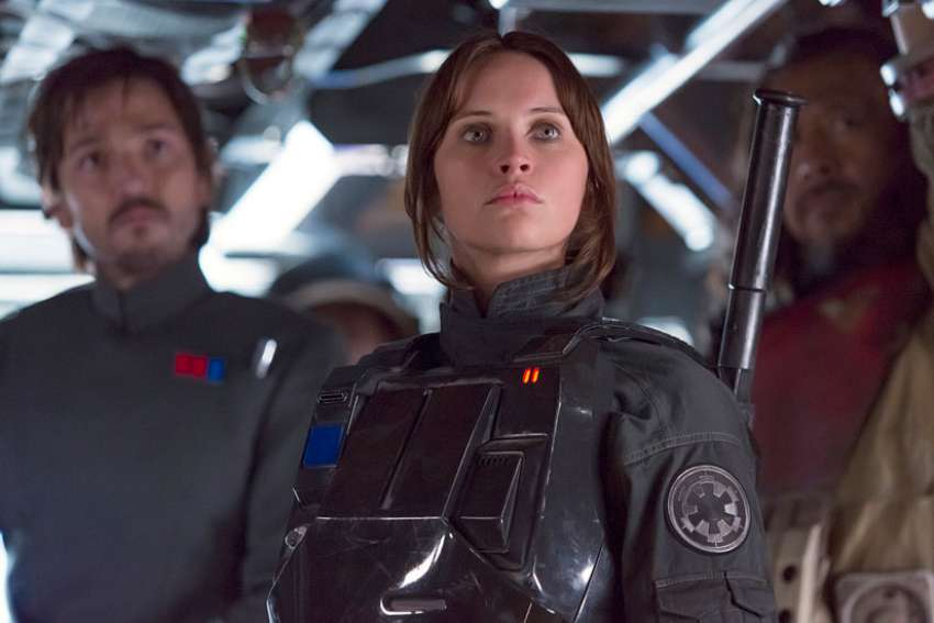 "Diego Luna, Felicity Jones and Jiang Wen star in a scene from the movie ""Rogue One: A Star Wars Story."""