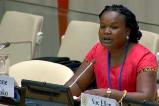 Anne Kioko, the founder and director of the African Organization for the Family, speaks at the 63rd session of the Commission on the Status of Women.