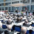 Pope Benedict XVI speaks at Rome's Sacred Heart University May 3. The pope spoke to hundreds of people, including Italian government officials, gathered in the square outside the auditorium of the university's Department of Medicine and Surgery.