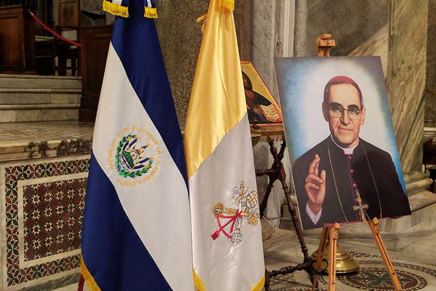 A portrait of Blessed Oscar Romero is displayed March 23 in Rome's Basilica of Santa Maria in Trastevere.