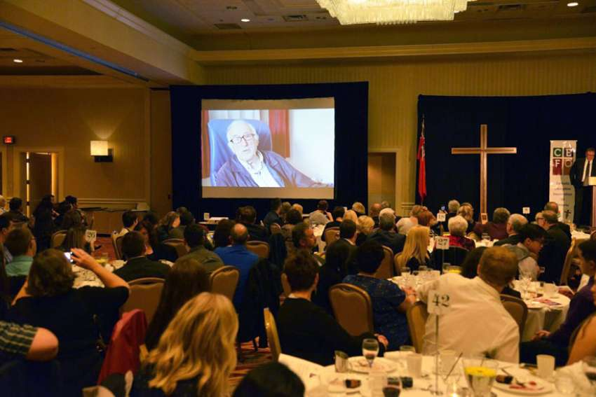 Jean Vanier Canadian humanitarian and founder of L'Arche made an appearance at the 2016 Fogarty Dinner in the form of a pre-recorded video message.