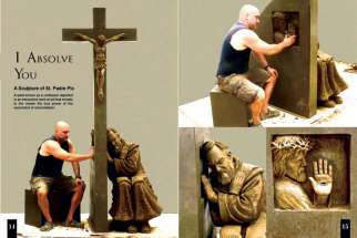 Sculptor Timothy Schmalz demonstrates the interactive facet of his sculpture of St. Padre Pio.