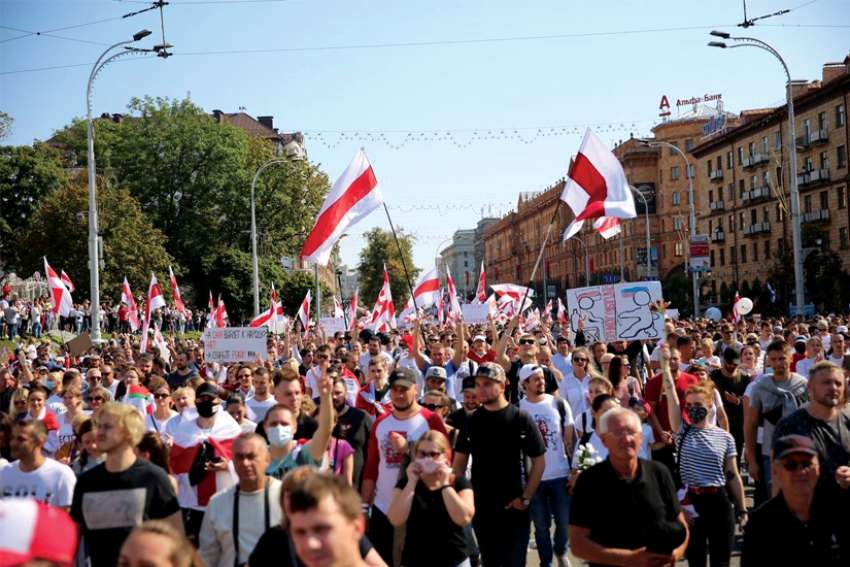 Opposition supporters take part in a rally against election results in Minsk, Belarus, Aug. 30.