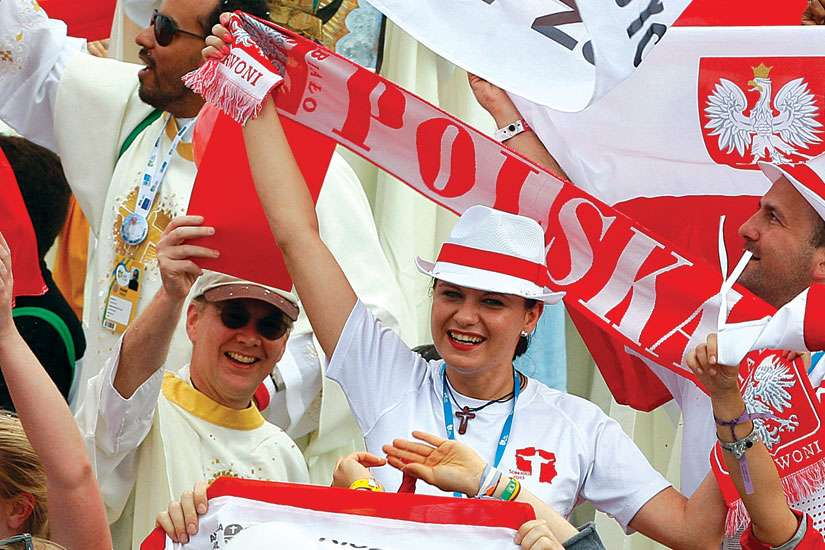 Polish pilgrims at World Youth Day in Rio de Janeiro 2013 cheer as Pope Francis announces that WYD 2016 will take place in Krakow, Poland.