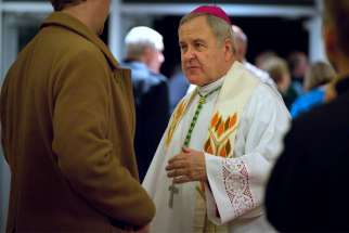 "St. Louis Archbishop Robert J. Carlson is pictured in a Nov. 24, 2014, photo. As the Archdiocese of St. Louis released a list of names of archdiocesan clergy with substantiated allegations of sexual abuse of a minor July 26, 2019, Archbishop Robert Carlson acknowledged that seeing the names ""will be painful"" and publishing them ""will not change the past."""