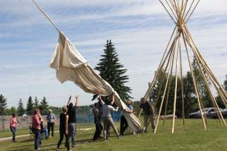 A traditional Blackfoot teepee was erected on St. Mary's campus as part of the Indigenous Voices lecture series last summer.