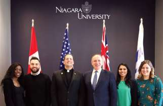 Mayor Maurizio Bevilacqua was joined by Niagara University president Fr. James J. Maher and some of its students for the announcement of the arrival of the school in the City of Vaughan.