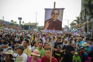 Pilgrims gather for Archbishop Oscar Romero's beatification Mass in the Divine Savior of the World square in San Salvador May 23.
