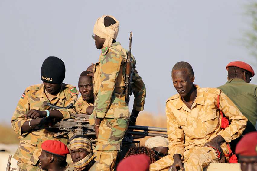 Armed members of the South Sudanese security forces are seen in Bentiu Jan. 21, 2019. Bishops of South Sudan say the peace process is not working, and they suggest more than a dozen ways to improve the situation.
