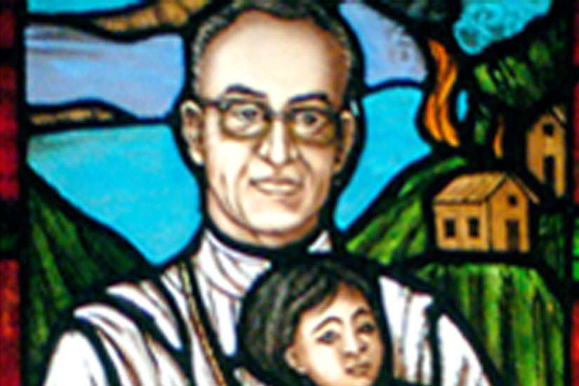 This stained glass window of Archbishop Oscar Romero by Joseph Aigner is at the Newman Centre at the University of Toronto.