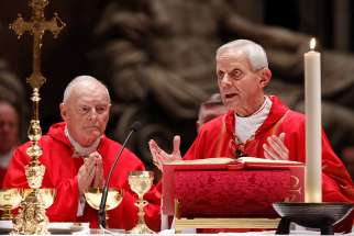 Cardinal Theodore E. McCarrick, retired archbishop of Washington, and Cardinal Donald W. Wuerl of Washington, concelebrate a Mass of thanksgiving in 2010 in St. Peter's Basilica at the Vatican.
