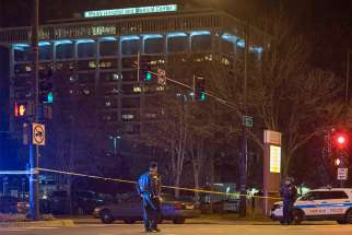 A crime scene at Mercy Hospital and Medial Center in Chicago is seen Nov. 19 following a shooting.