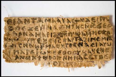 A previously unknown scrap of ancient papyrus written in ancient Coptic is pictured in this undated handout photo. The fourth-century text provides the first known piece of evidence that some early followers of Jesus proposed that he was married.