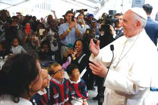 Pope Francis meets people involved with St. Maria's Meals Program of Catholic Charities in Washington Sept. 24.