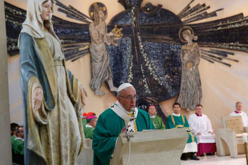 Pope Francis gives the homily as he celebrates Mass at the Church of the Immaculate Conception in Baku, Azerbaijan, Oct. 2.