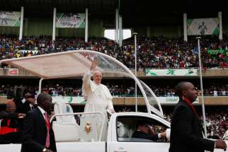 Pope Francis arrives for a meeting with youths at Kasarani Stadium in Nairobi, Kenya, Nov. 27.