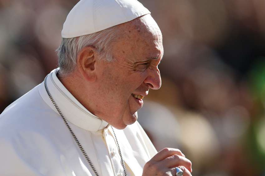 Pope Francis is pictured during his general audience in St. Peter's Square at the Vatican Nov. 7.