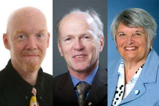 Included in the Governor General's 113 new appointments to the Order of Canada are editorial cartonnist Bruce MacKinnon, left, political science professor and advisor John McGarry, centre, and former senator Sharon Carstairs.