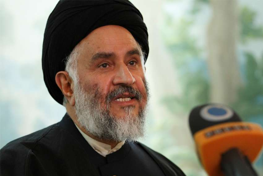 Ayatollah Seyed Mostafa Mohaghegh Damad Ahmadabadi, an Islamic scholar, answers reporters' questions in Rome Oct. 14, 2010, before giving a presentation at the Vatican.