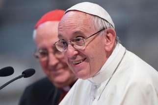 Pope Francis is seen during the Rome diocese's annual convention at the Basilica of St. John Lateran in Rome June 19.