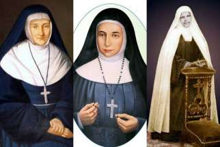 Left to right: Blessed Jeanne Emilie De Villeneuve, Blessed Mary Alphonsine Danil Ghattas and Blessed Mariam Baouardy. Pope Francis recognized the miracles needed for the canonization of a French foundress and two Palestinian nuns.